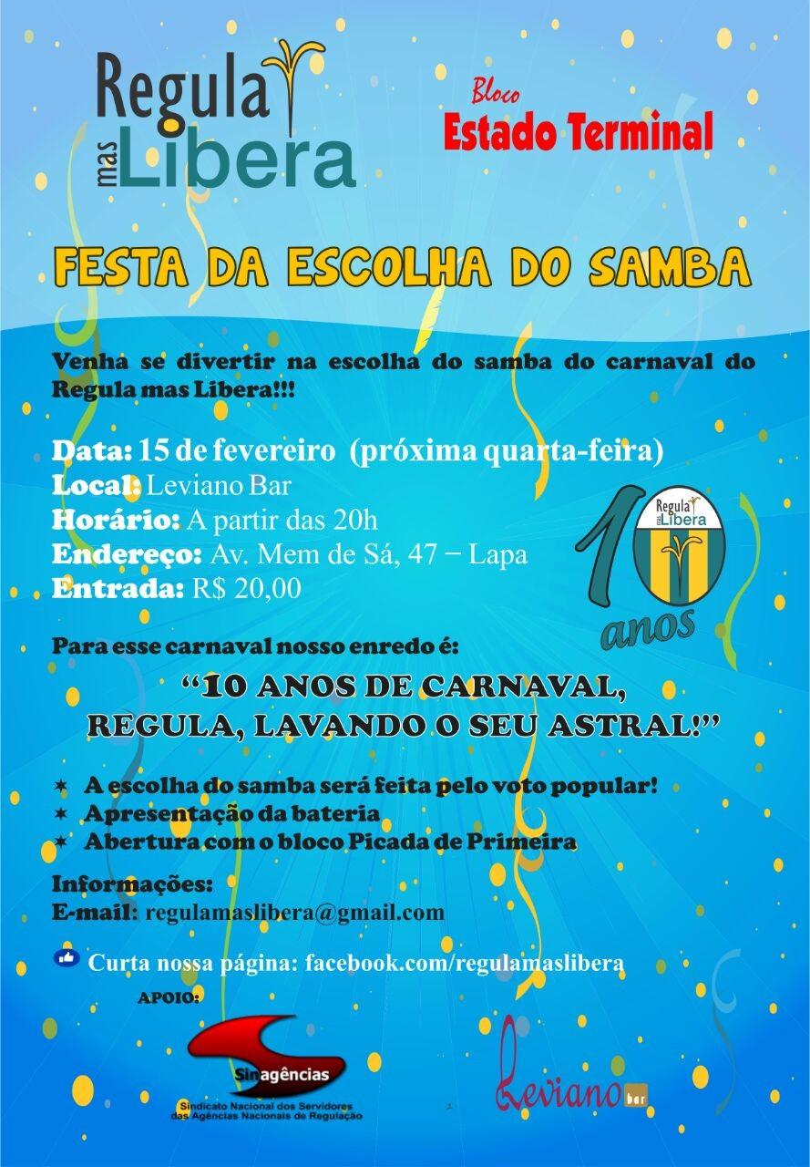 Convite Escolha do Samba Enredo 2017 do Regula