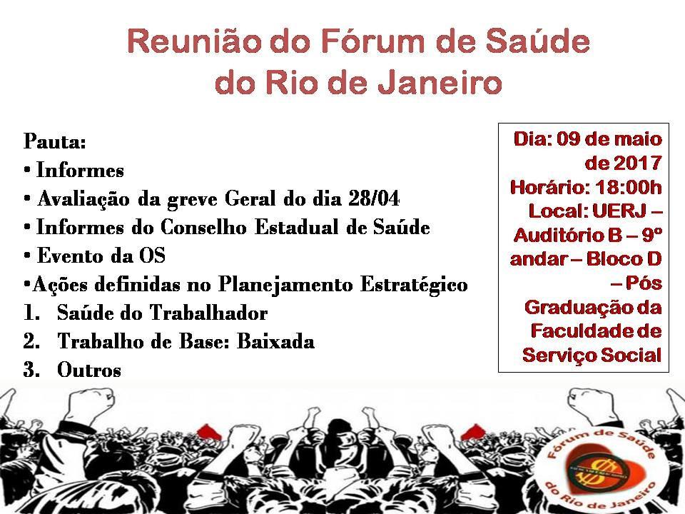 Cumprindo nosso papel social – reunião do Fórum de Saúde do Rio de Janeiro – 09/05/2017